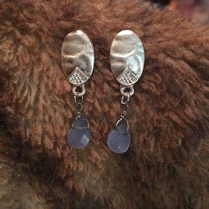 """🆕Dangle earrings 1 1/2"""" Long blue stone New"""